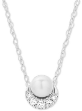 """Elsie May Diamond Accent & Cultured Freshwater Pearl (8-1/2-9mm) 16"""" Pendant Necklace in Sterling Silver"""