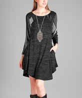 Aster Black & Gray Abstract Pocket Scoop-Neck Tunic - Plus - Plus Too