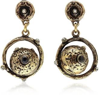 Alcozer & J Golden Brass Mars Earrings