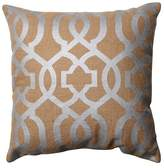 """Pillow Perfect Geometric Burlap Throw Pillow - Tan (16.5"""")"""