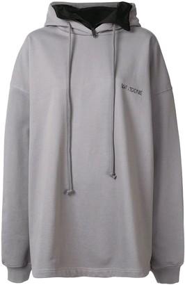 we11done oversized logo printed hoodie
