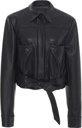 Sally LaPointe SpecialOrder-Belted Faux Leather Blouse-GR
