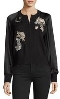 Nanette Lepore Jeweled Embroidered Wool Bomber Jacket, Black