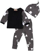 niceEshop(TM) 3Pcs Baby Deer Printed Tops T-shirt Leggings Hat Outfits Set