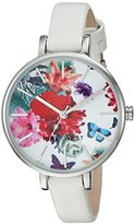 Nine West Women's Quartz Metal and Polyurethane Dress Watch, Color:White (Model: NW/2037FLWT)