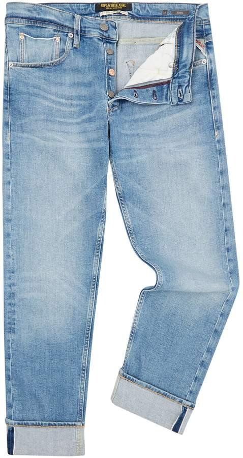 Replay Men's Ronas Selvedge Stretch Indigo Slim Fit Jeans