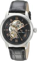 Lucien Piccard Men's LP-12524-01-RA Optima Stainless Steel Automatic Watch with Black Leather Band