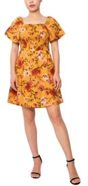 Planet Gold Juniors' Smocked Short-Sleeve Dress