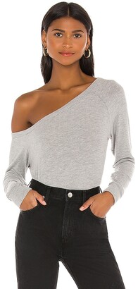 Enza Costa Peached Jersey Easy Off Shoulder Long Sleeve Top