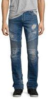 True Religion Rocco Distressed Moto Denim Jeans, Blue Misfit