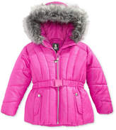 S. Rothschild Foil-Dot Belted Puffer Jacket with Faux-Fur Trim, Toddler Girls (2T-5T)