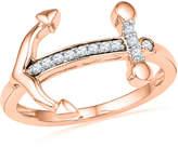 Zales 1/10 CT. T.W. Diamond Sideways Anchor Ring in 10K Rose Gold