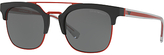 Emporio Armani Ea4093 Square Sunglasses, Red/black