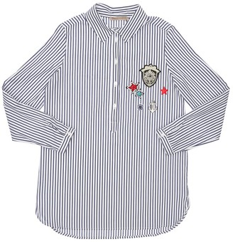 Ermanno Scervino Striped Cotton Poplin Shirt W/ Patch