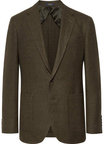 Polo Ralph Lauren Army-Green Morgan Slim-Fit Houndstooth Wool And Linen-Blend Blazer