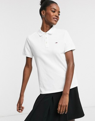 Tommy Jeans classic polo shirt in white