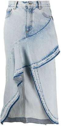 Off-White Ruffled Asymmetrical Denim Skirt