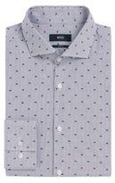 HUGO BOSS Striped Fil Coupe Cotton Dress Shirt, Slim Fit Jason 17.5Grey