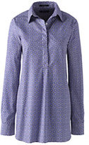 Lands' End Women's Tall No Iron Tunic Top-Chilled Gray Print