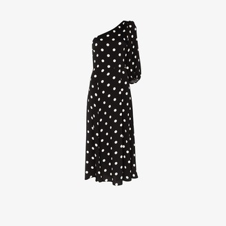 Reformation Lawrence one sleeve polka dot midi dress