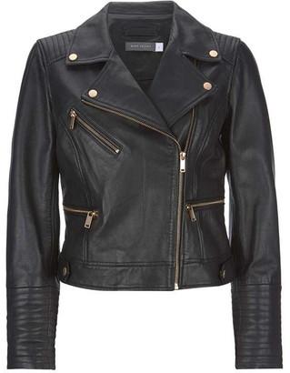 Mint Velvet Black Leather Biker Jacket