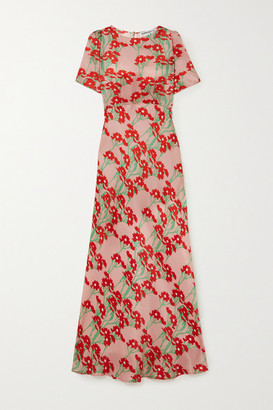 BERNADETTE Jane Floral-print Silk-satin Maxi Dress - Pink