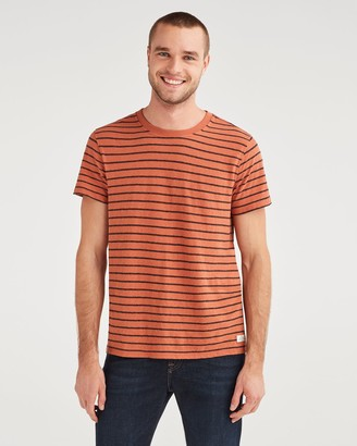 7 For All Mankind Striped Boxer Pocket Tee in Clay with Black Stripe