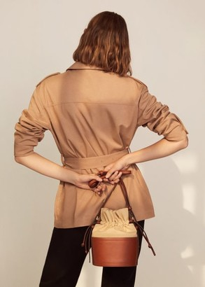 MANGO Cotton bucket bag medium brown - One size - Women