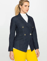 ELOQUII Plus Size Refined Denim Military Blazer