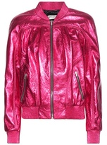 Saint Laurent Metallic Leather Bomber Jacket