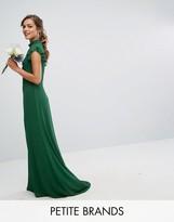 Tfnc Petite Wedding Flutter Sleeve Fitted Maxi Dress In Chiffon