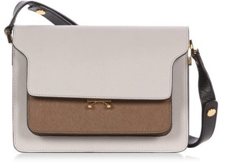 Marni Trunk Medium Saffiano-leather Shoulder Bag - Grey Multi