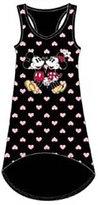 Disney Mickey & Minnie Mouse HEARTS Womens Pajama Tank Top Nightie -Black Pink