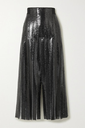 Akris Pleated Sequined Tulle Maxi Skirt - Black