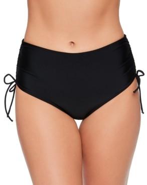 Salt + Cove Solid Shirred-Side High-Waist Bikini Bottoms, Created for Macy's Women's Swimsuit