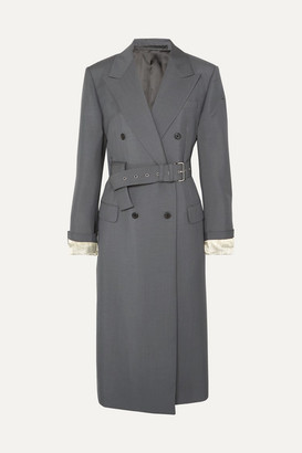 Prada Belted Mohair And Wool-blend Coat - Gray