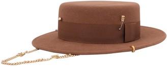 Ruslan Baginskiy Felted Boater Hat W/ Piercing
