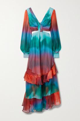 PatBO Sunset Cutout Ruffled Printed Chiffon Maxi Dress - Turquoise