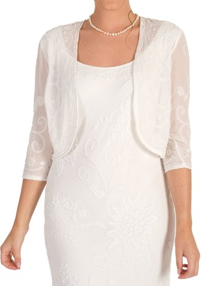 Chesca Embroidered Beaded Bridal Bolero, Ivory