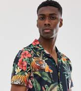 Burton Menswear Big & Tall jersey shirt in floral tiger print