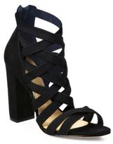 Schutz Stanly Strappy Nubuck Block-Heel Sandals