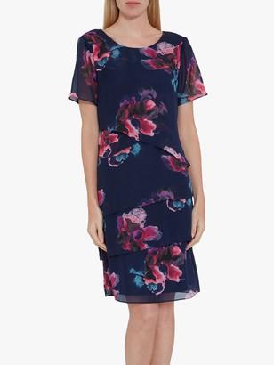 Gina Bacconi Peggy Floral Chiffon Dress, Navy