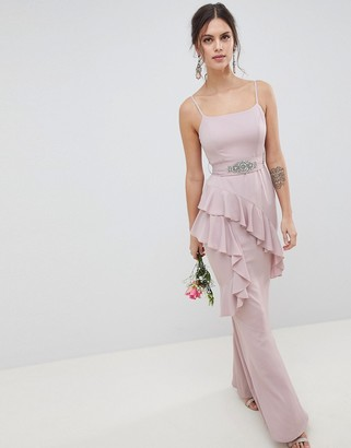 ASOS DESIGN Ruffle Cami Maxi Dress With Embellished Belt