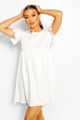 boohoo Crepe Ruffle Sleeve Smock Dress