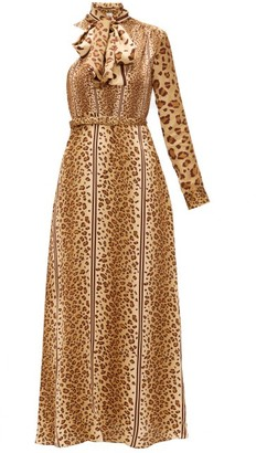 Hillier Bartley Leopard-print Pussy-bow One-shoulder Satin Dress - Animal