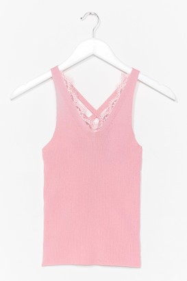 Nasty Gal Womens Play to Trim Lace Tank Top - Pink