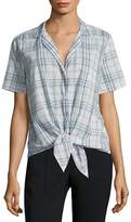 Equipment Women's Short Sleeve Cotton Tie Blouse