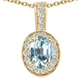Tommaso design Studio Tommaso Design Oval 8x6mm Genuine Aquamarine and Diamond Pendant 14k