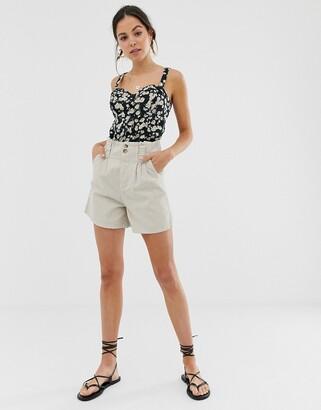 Asos Design DESIGN denim safari shorts in sand-Tan