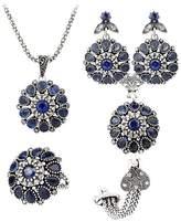 ShiningLove Women Retro Jewelry Set Elegant Resin Pendant Necklace + Dazzling Rhinestone Earring Eardrop + Bracelet + Ring